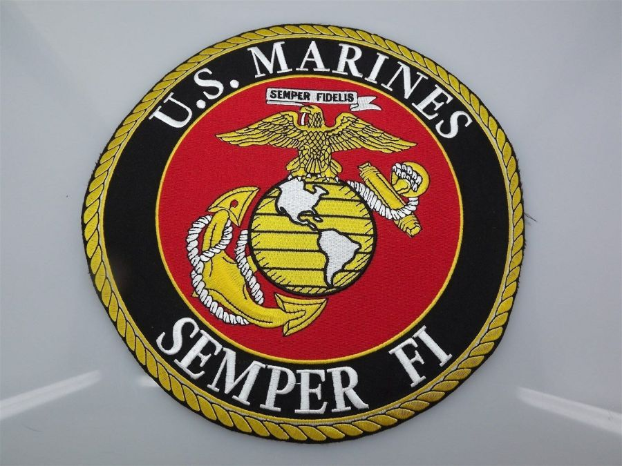 "MARINE CORPS USMC PATCH LARGE LOGO SEMPER FI XLG BRAND NEW 10"" IRON-ON 1"