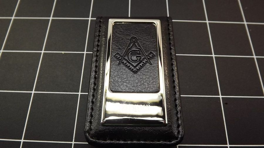 Masonic Money Clip, Square and Compass  MASON FREEMASON LEATHER/STEEL BRAND NEW 3