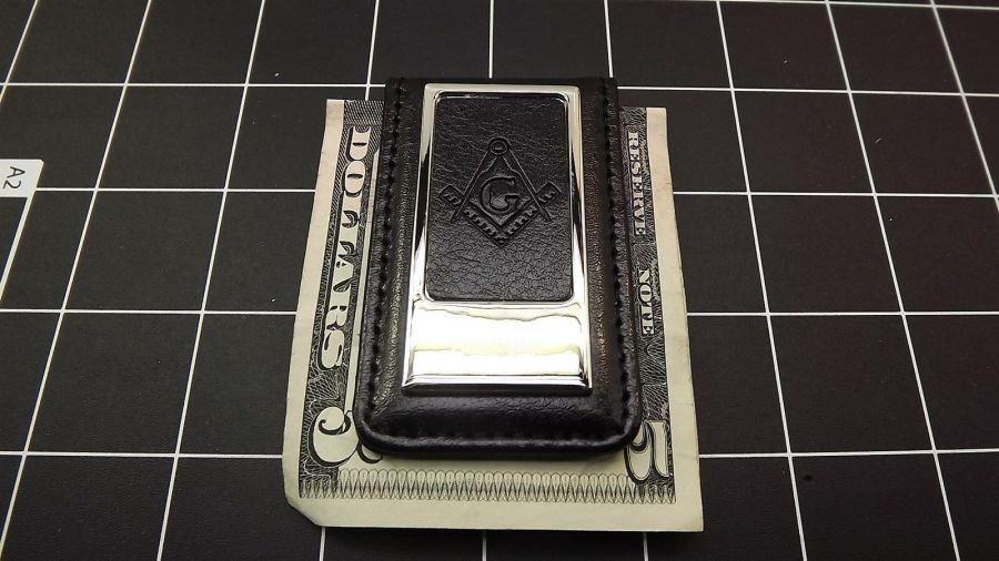 Masonic Money Clip, Square and Compass  MASON FREEMASON LEATHER/STEEL BRAND NEW 1