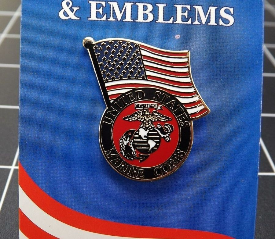 "BRAND NEW Lapel Pin USMC United States Marine Corps With American Flag 1 3/16"" 1"
