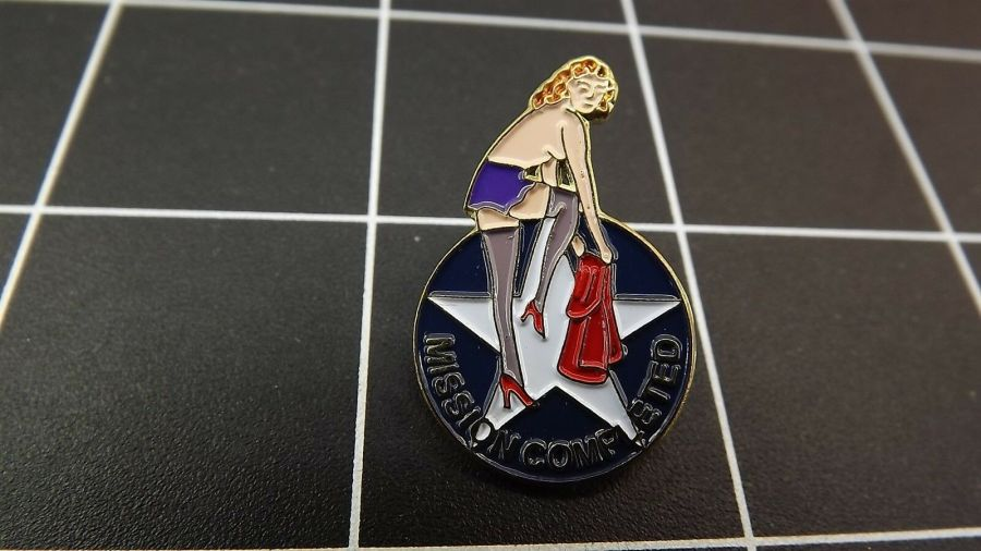 Collectible Enamel Pin Up Girl MISSION COMPLETED Nose Art Lapel Pin  Copy 1