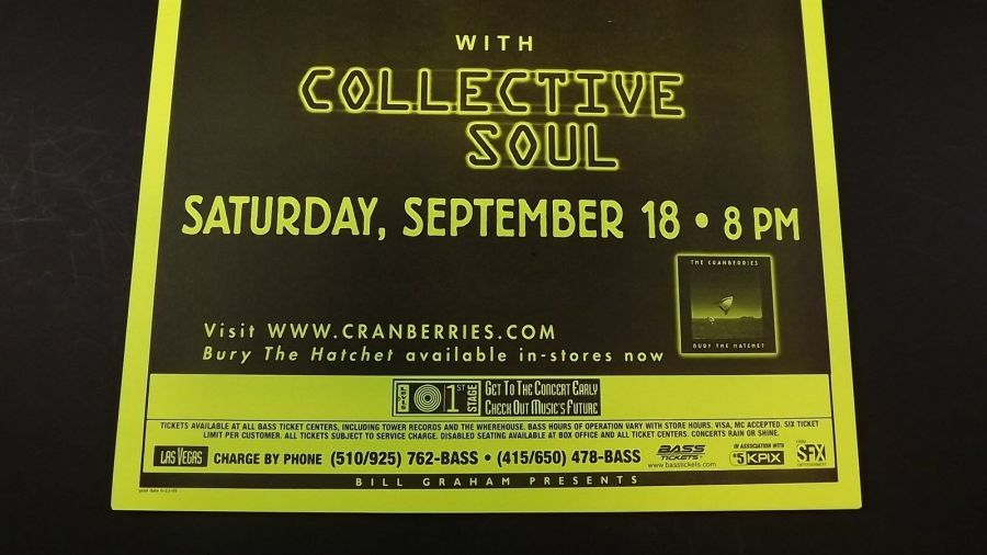 Genuine 1999 The CRANBERRIES W/ Collective Soul Music Concert Poster Flyer Ad 4