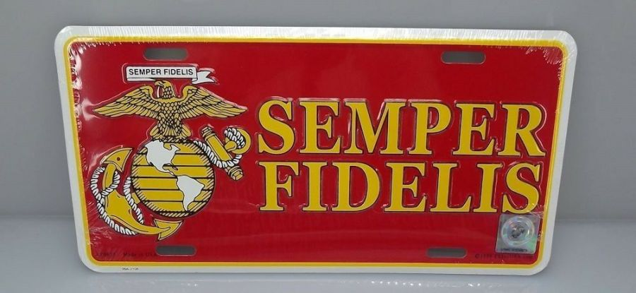 LICENSE PLATE USMC MARINE CORP STANDARD SIZE SEMPER FIDELIS BRAND NEW EMBOSSED 1