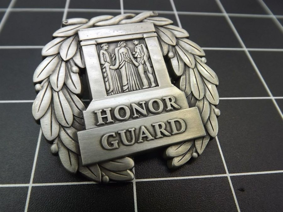 """NEW Lapel Pin """" HONOR GUARD"""" TOMB UNKNOWN SOLDER LIFETIME GUARANTEE PEWTER 4"""
