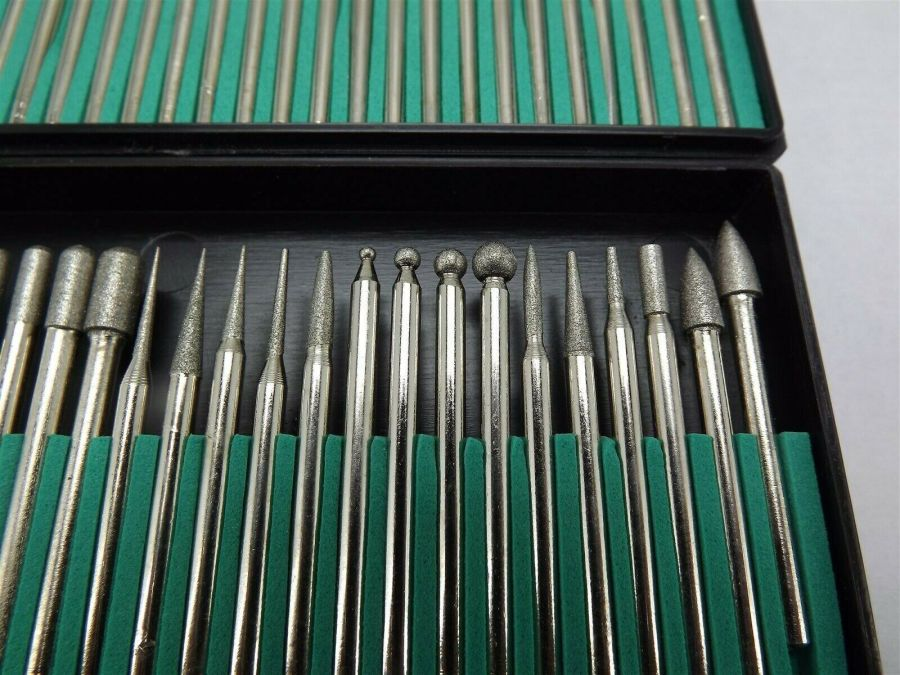 """NUMBER ONE SELLER"" 60-PIECE extra-fine diamond burr set 1/8"" shank shapes fine 4"