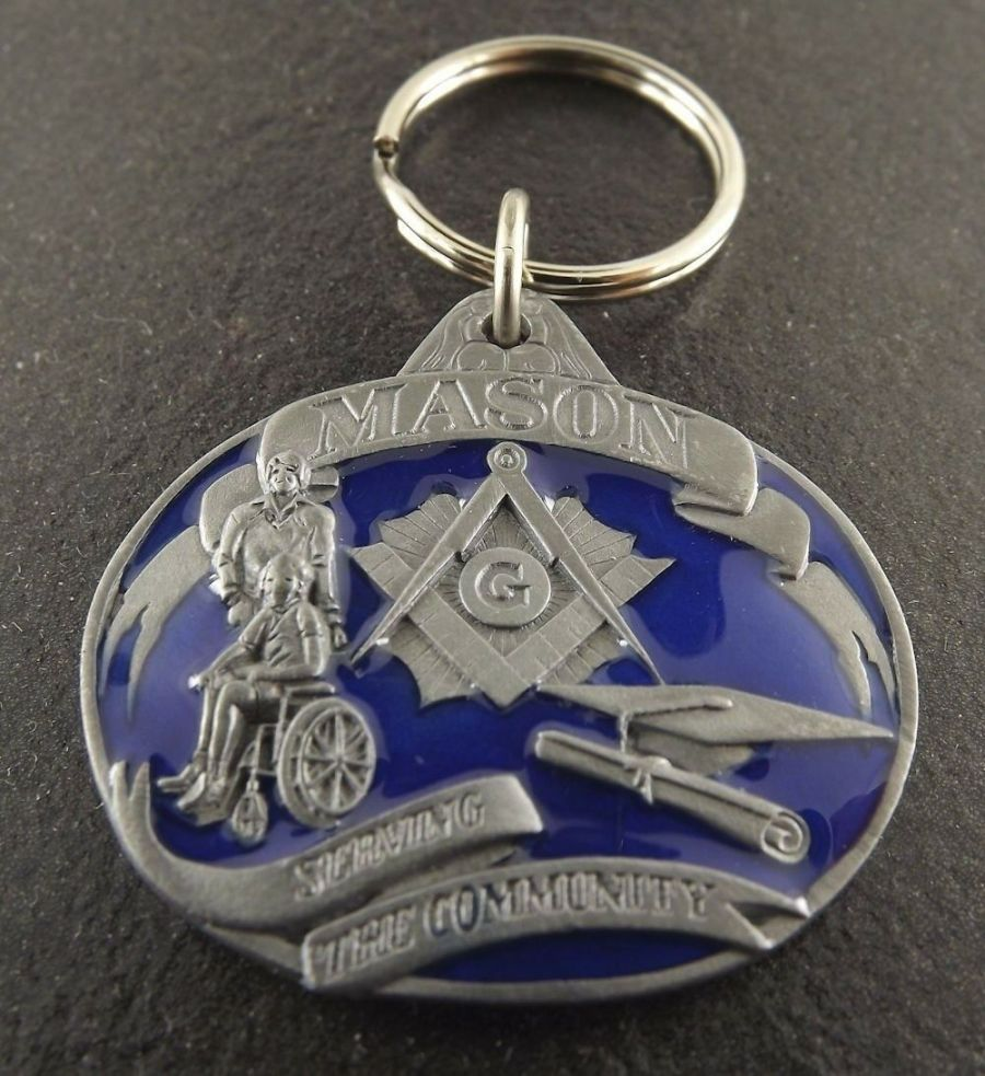 New Masonic Mason Free Mason Enameled Key Chain Square & Compass 1
