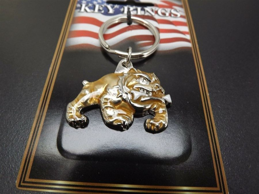 "PEWTER KEY RING KEYCHAIN NEW USMC MARINES ""BULL DOG"" MARINE CORP 4"