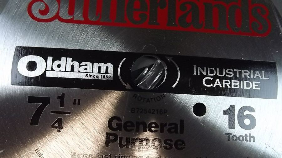 """SET OF 3"" New Sutherlands Oldham General Purpose Saw Blade 7 1/4"" 16 T Carbide 4"