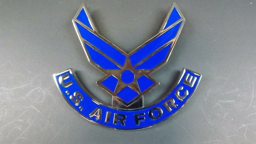 """USAF AIR FORCE GRILL BADGE CAR TRUCK NEW 6"""" NR BRASS BRAND NEW ENAMELED 1"""