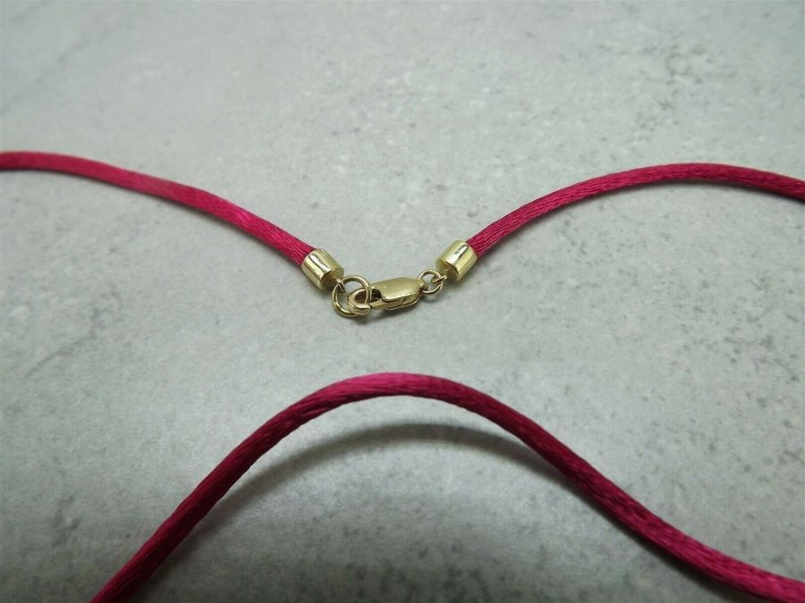 Vintage 14k Yellow Gold Fuchsia Silk Necklace 585 Solid 2.2 Grams 3