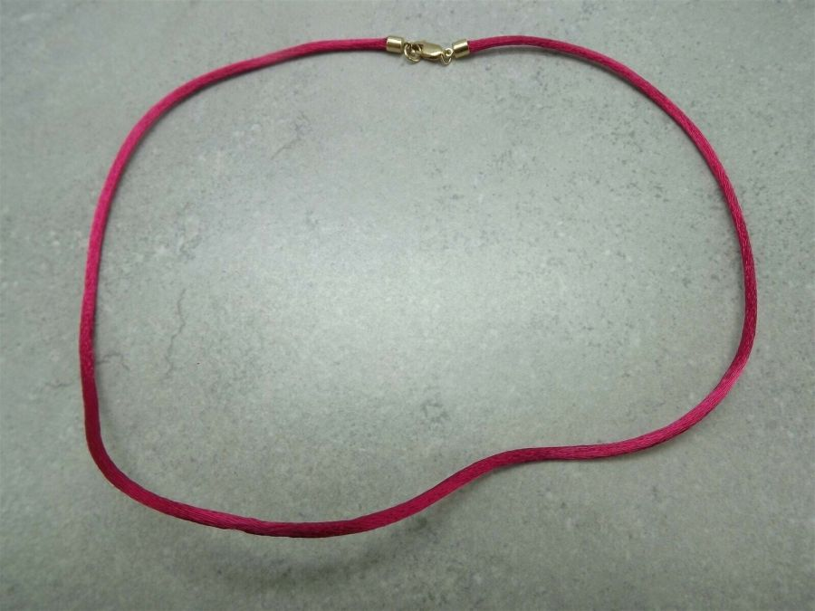 Vintage 14k Yellow Gold Fuchsia Silk Necklace 585 Solid 2.2 Grams 1