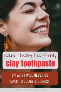 A smiling woman showing her white teeth with text overlay: clay toothpaste