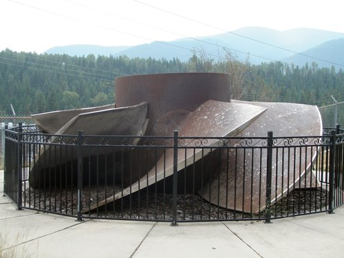 a giant turbine at Cabinet Gorge Dam, Idaho