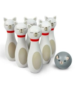 Bowling Alley Cats Wooden Bowling Game