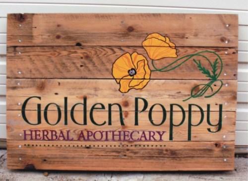 golden poppy eco-friendly sign