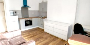 Flat 4 Living room with kitchen area