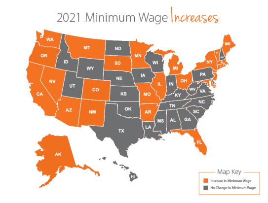 Minimum Wage by State 2021 Increases vs 2020 - Paycor