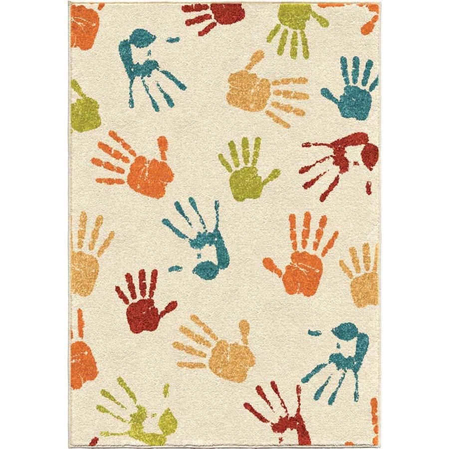 Orian Kids Court 3111 Handprints Ivory Area Rug
