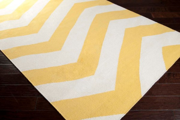 White and Yellow Area Rug