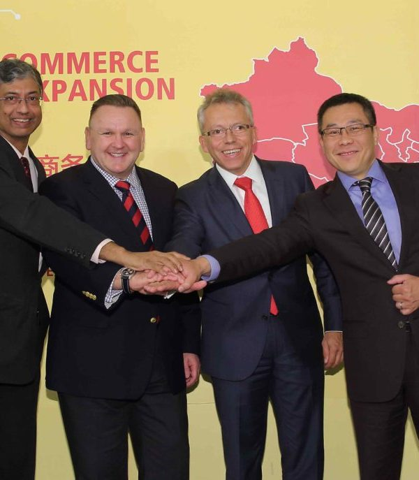 (l-r): Malcolm Monteiro, CEO, Asia Pacific, DHL eCommerce; Charles Brewer, CEO, DHL eCommerce; Thomas Kipp, EVP, Strategy & Business Development, Post – eCommerce – Parcel; Zhi Zheng, managing director, DHL eCommerce China