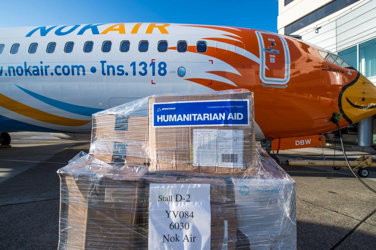 Boeing and Nok Air partnered today to launch a special humanitarian aid mission to Thailand. Pictured here are some relief items that were loaded onto Nok's new, Next-Generation 737-800, prior to takeoff from Seattle.