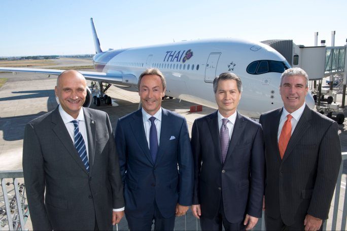 (l-r) Eric Schulz, Rolls-Royce president civil aerospace, Fabrice Brégier, Airbus CEO & president, Charamporn Jotikasthira, Thai Airways International president, Jeff Knittel, CIT president transportation finance.