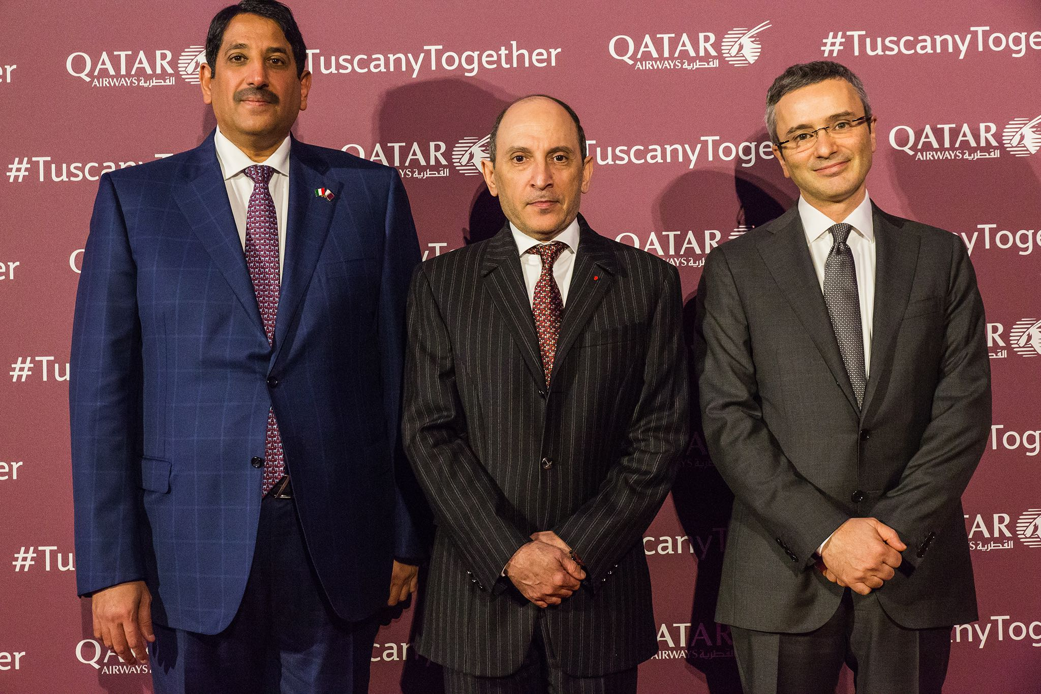 Qatar Airways Group chief executive, Akbar Al Baker (c), with Abdul Aziz Bin Ahmed Al Malki (l), Qatar's Ambassador to Italy, and Marco Rigotti (r), chairman of Meridiana Fly.