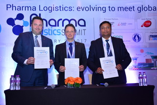 Steven Polmans, head of cargo, Brussels Airport Company; Nathan De Valck, chairman, Pharma.Aero; Manoj Singh, senior vice president and head of cargo, Mumbai International Airport.