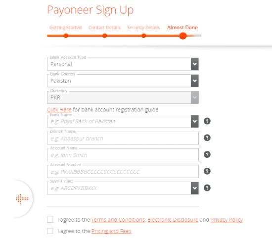 Payoneer Sign UP Last Step
