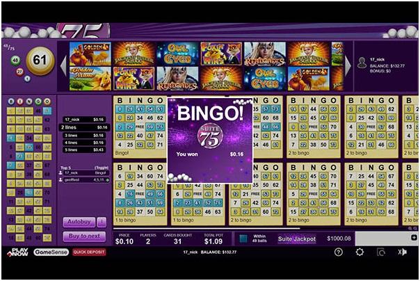 Suite 75 bingo room at Play Now Canada