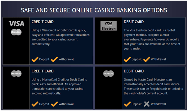 Deposits by credit cards