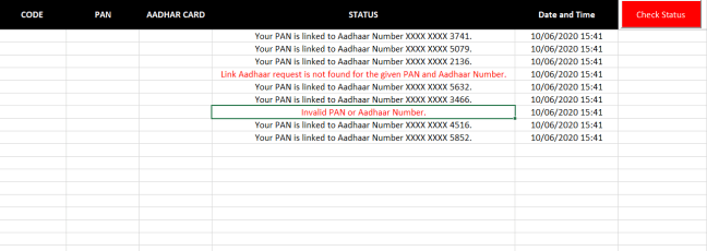 link pan card with aadhar check status service
