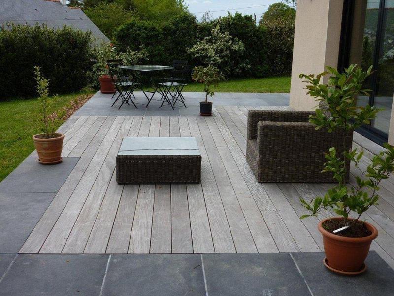 dallage en pierre et terrasses bois paysagiste sur Nantes