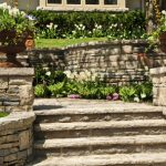 Steps made out of stone in gorgeous garden