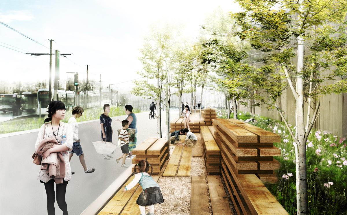 banc paysage mobilier ph m re d accompagnement des chantiers urbains zac bords de seine. Black Bedroom Furniture Sets. Home Design Ideas