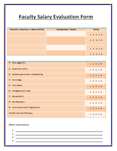 Salary Evaluation Form Template
