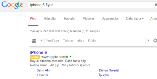 Apple adwords reklam örneği