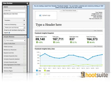 Detaylı sosyal medya raporlaması için Hoot Suite kullanışlı bir araç