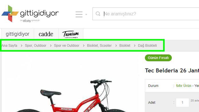 Gittigidiyor.com adresindeki Silo yapısına uygun kategori sayfaları