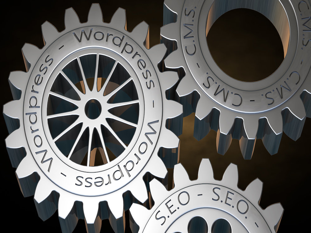wordpress creation concept with gears 3D rendering