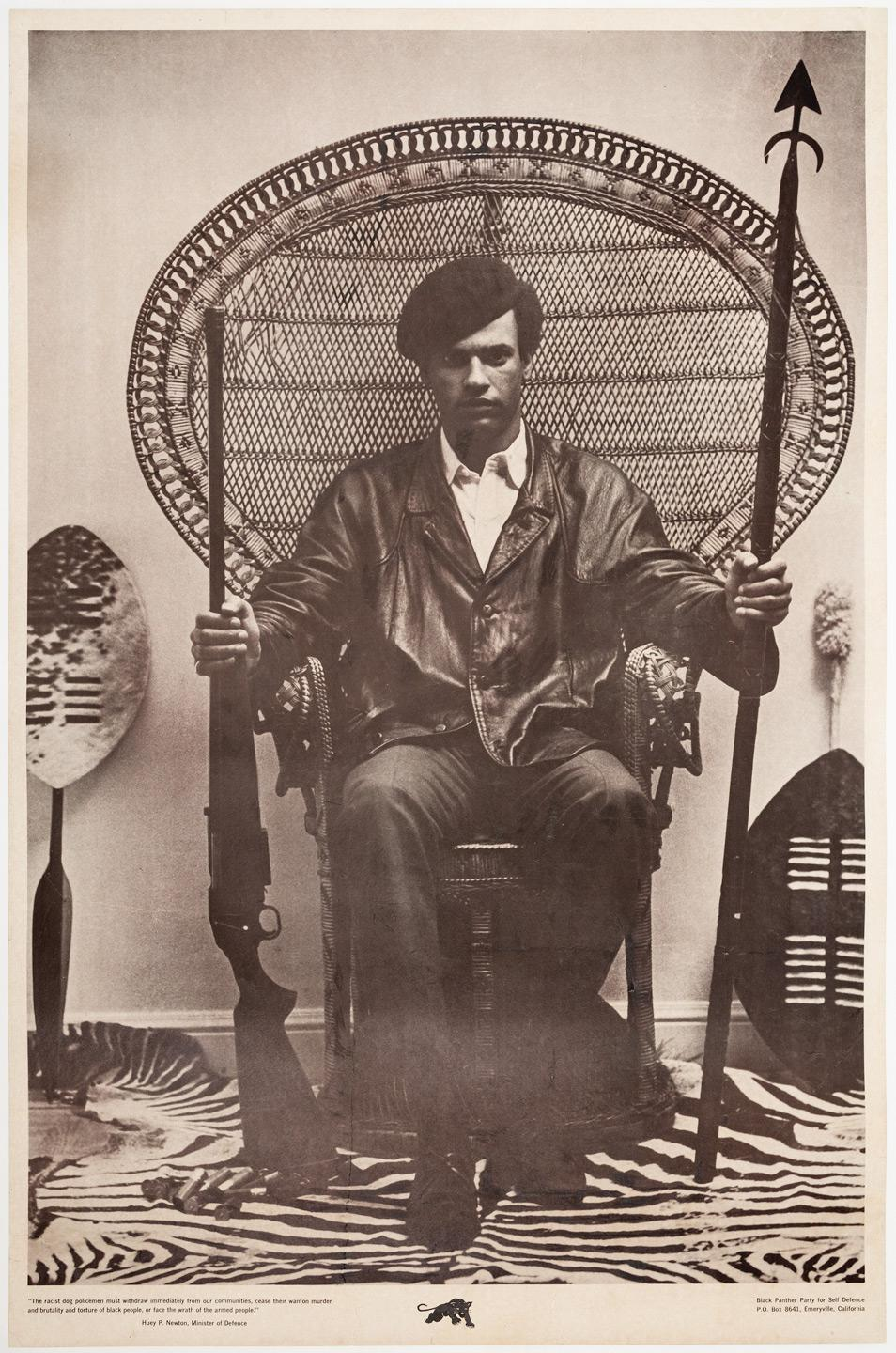 large wicker chair covers rental hamilton poster of huey p. newton for the black panthers - famous photograph him seated in a ...