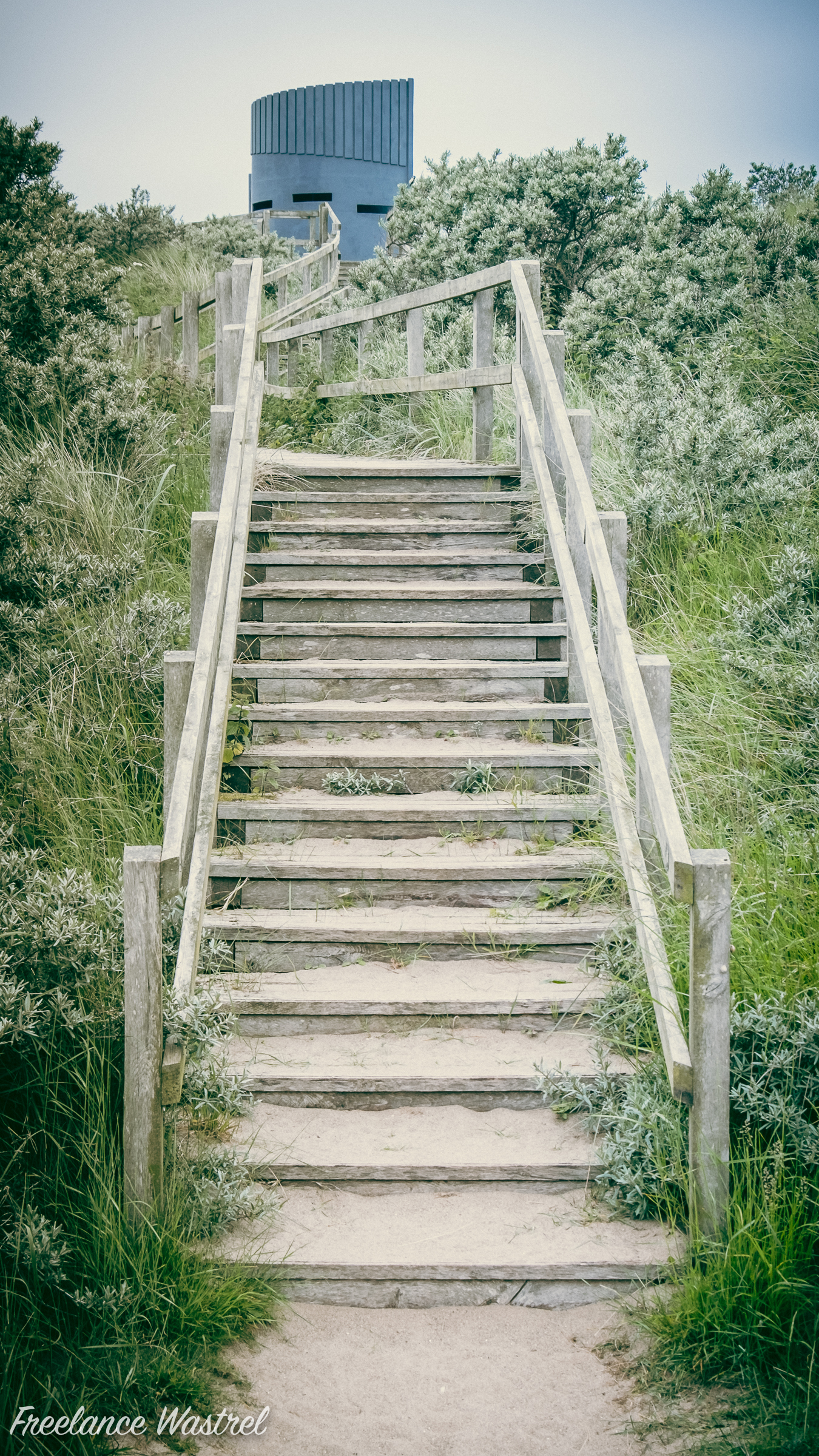 Steps up to the Round and Round House, Anderby Creek