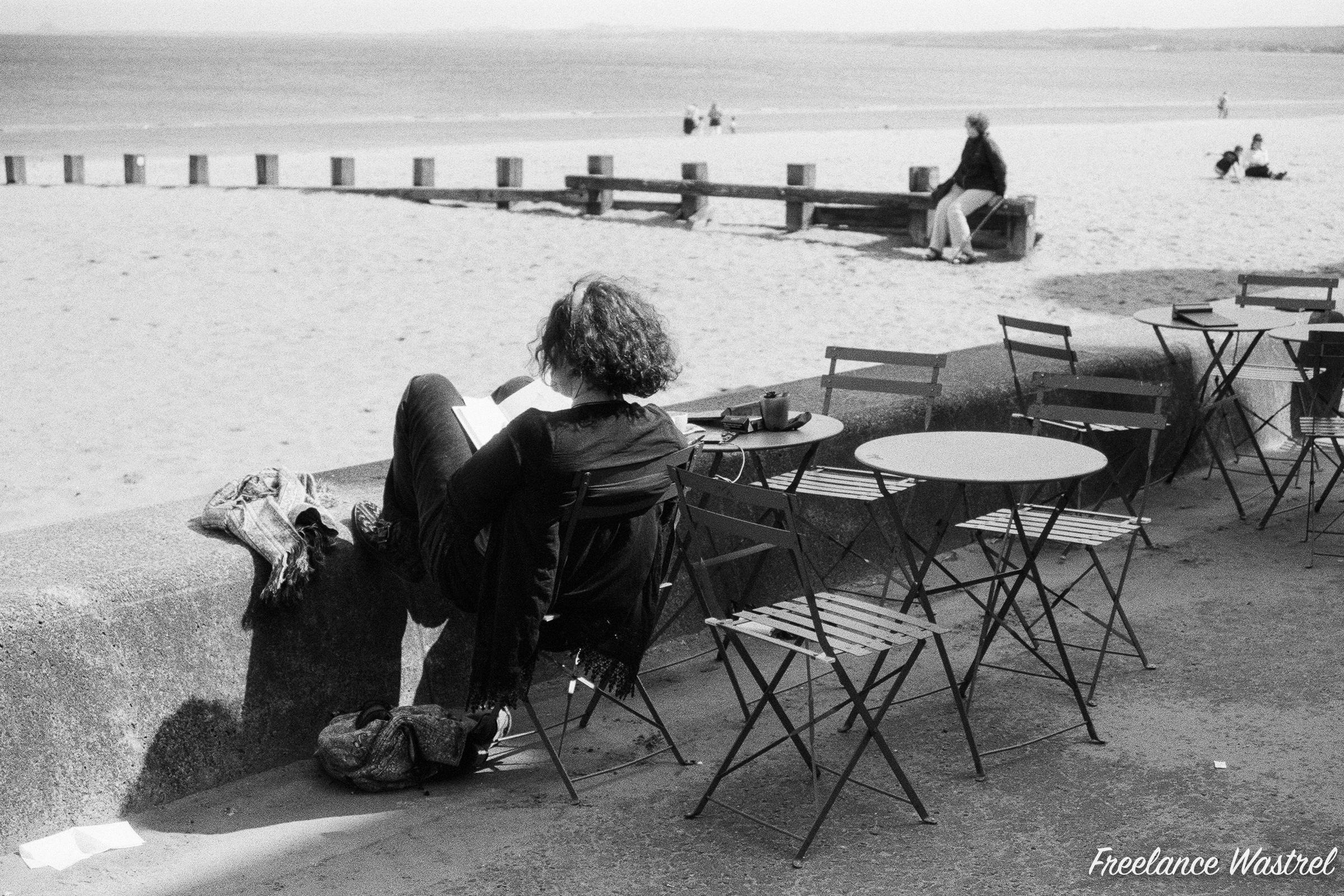 Reading at the beach, Portobello, August 2019