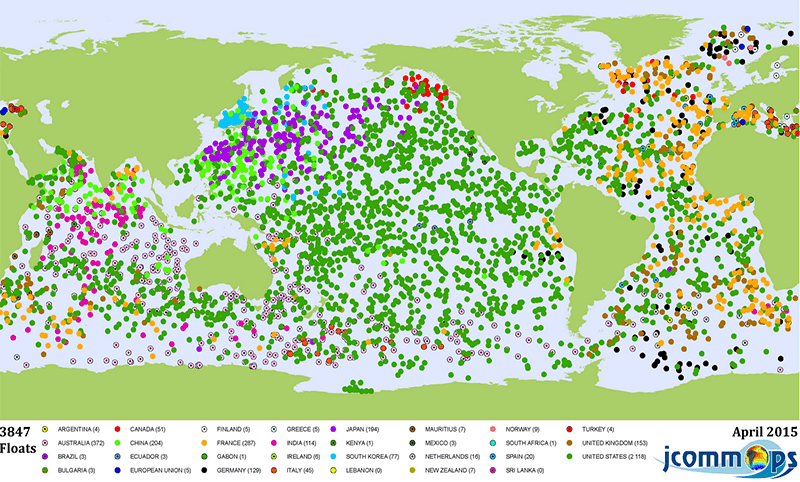 Argo array of active floats, color coded by country, as of April 2015. Credit: Wikipedia