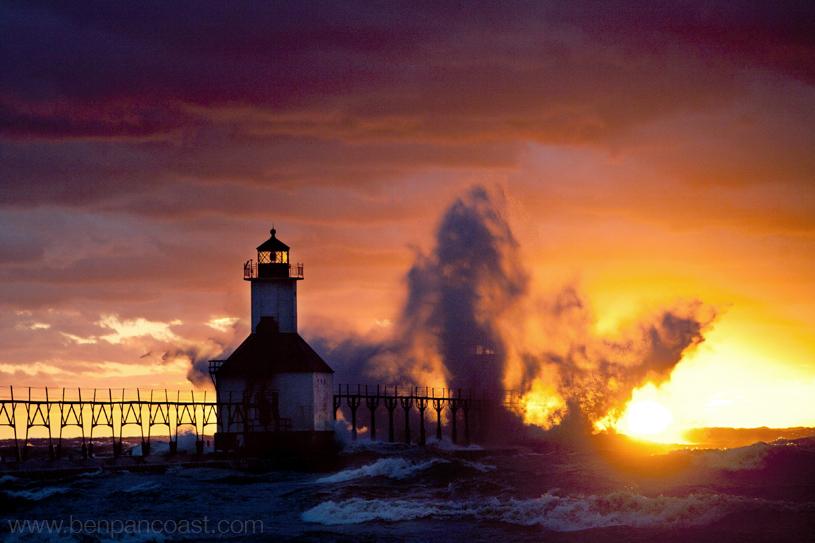 Lake michigan sunet saint joseph waves storm crash pier