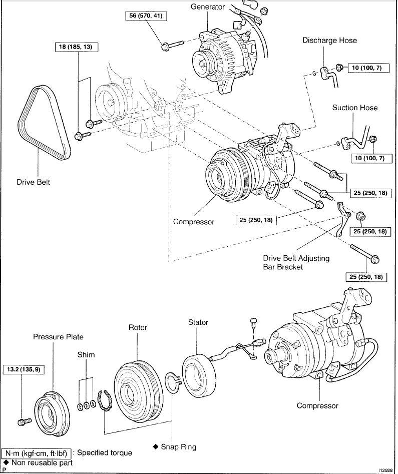 2000 Camry 1mz-fe ac compressor replacement/repair