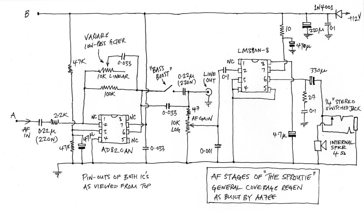 The Sproutie A General Coverage Regen Receiver With Plugin Coils. In Chuck's Original Version The 22k Resistor On Input Was 5k Ratio Of This Value To 100k Between Pins 2 And 6. Wiring. Regenerative Radio Receiver Schematics Using J310 At Scoala.co