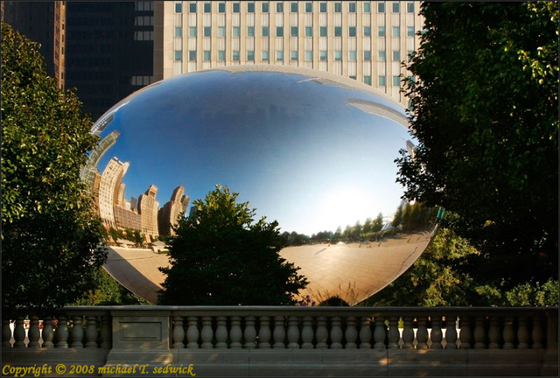 A Side View of The Bean Coming into Millennium Park