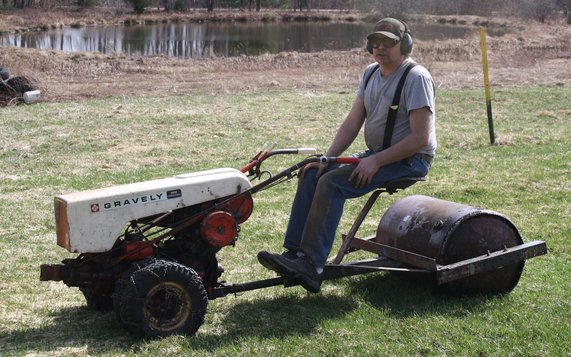 lawn roller in use.