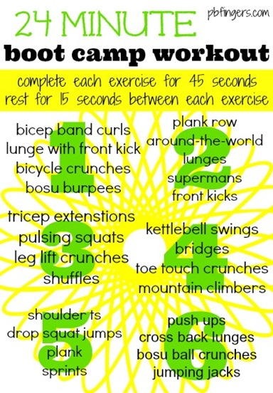 24 Minute Boot Camp Workout from Peanut Butter Fingers